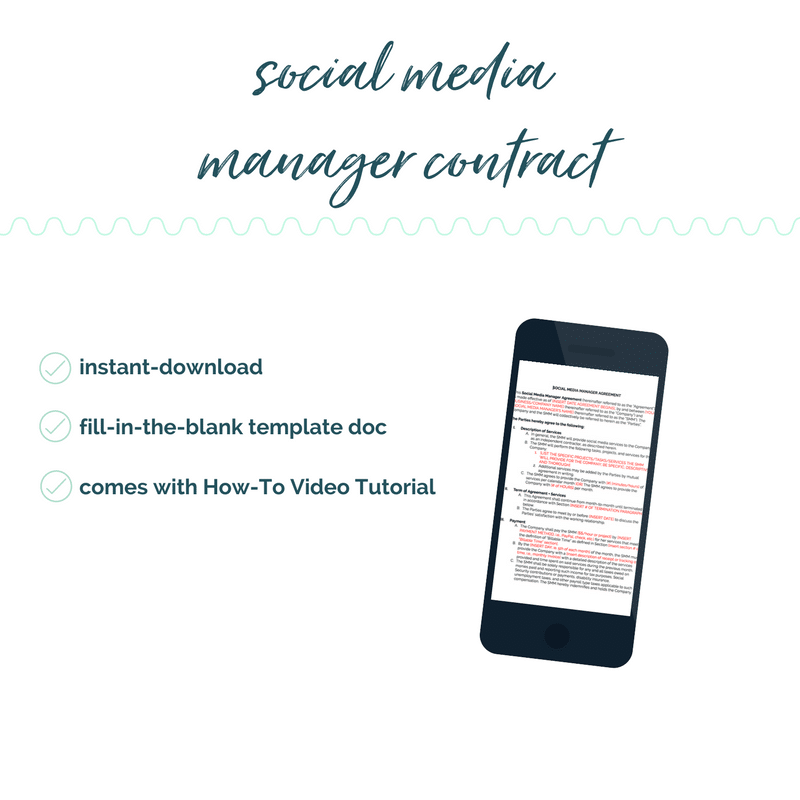 social media manager contract template diy legal templates sam vander wielen social media assistant contract coaches online entrepreneurs