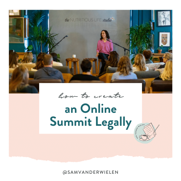 how to create an online summit legally, speaker agreement, sam vander wielen